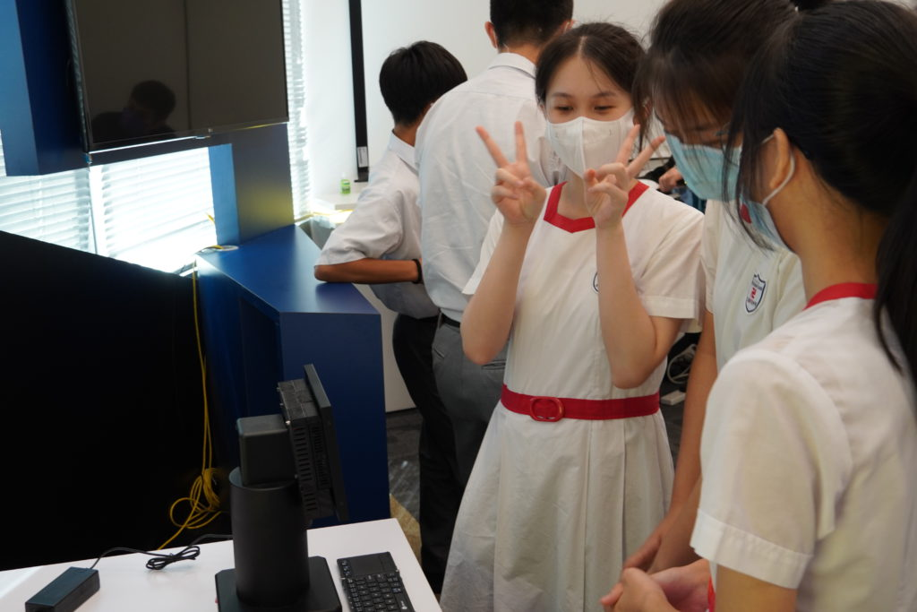 Students are having fun during the visit